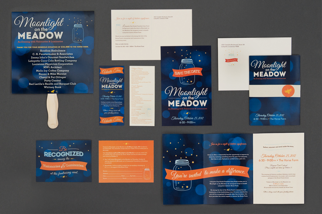Moonlight on the Meadow, A Fundraiser for The Horse Farm | Invitation and Materials