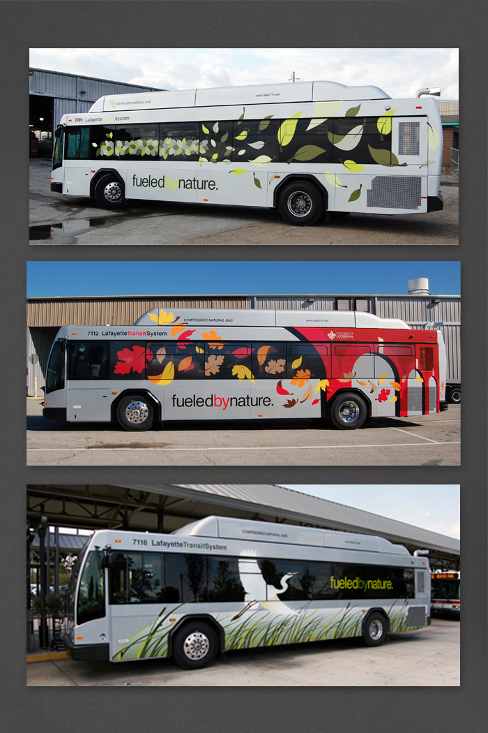Lafayette Transit Systems | Compressed Natural Gas Bus Graphics portfolio