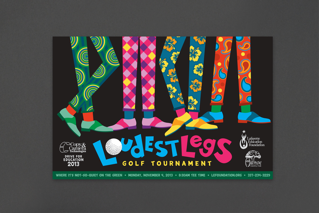 Lafayette Education Foundation | Loudest Legs Golf Tournament Poster portfolio